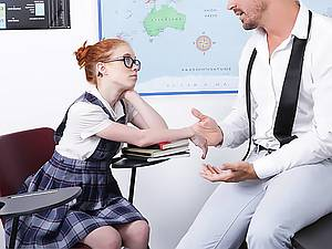 Teen schoolgirl Dolly Little loves homework and her teacher's big dick