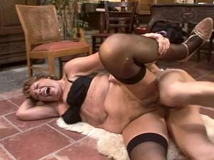 Granny gets treated well by a young and stiff cock after dinner