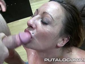 MILF with small boobies licked out before blowing cock