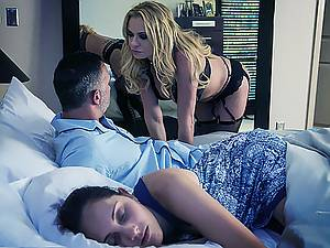 Horny witch Briana Banks seduced family man near his wife