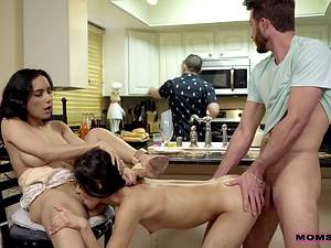 My friend's mother Tia Cyrus fucks my hard cock in the kitchen