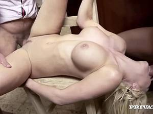 Housewife fucks two guys in the kitchen