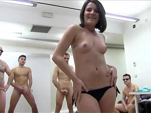 Teen surround by big dicks to suck and fuck