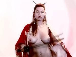 Busty raunchy geisha satisfies her needs