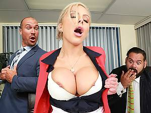 Strict Busty boss Nina Elle exploits its employees during a meeting